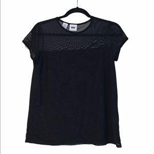 DKNY black sheer mesh top/shirt size S